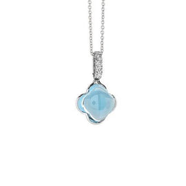 Quadrifoglio 18k Gold Blue Topaz and Diamond Pave Drop Pendant