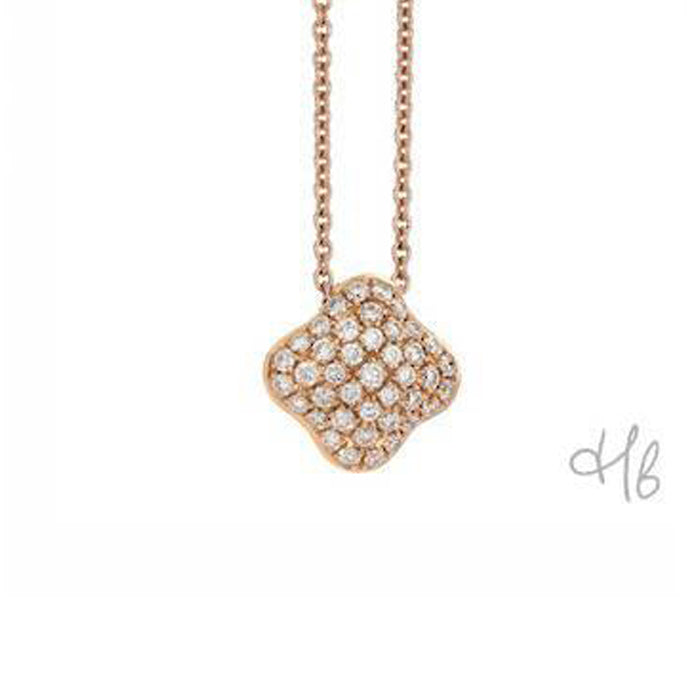 Quadrifoglio 18k Rose Gold and Diamond Pave Necklace by Hulchi Belluni
