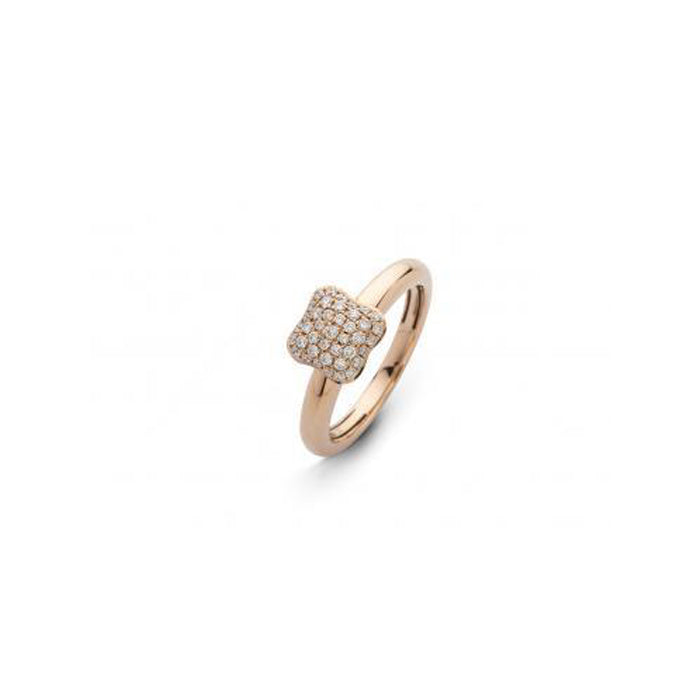 Quadrifoglio 18k Rose Gold and Diamond Pave Small Ring