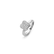 Quadrifoglio 18k White Gold and 0.42cts Diamonds Pave Medium Ring