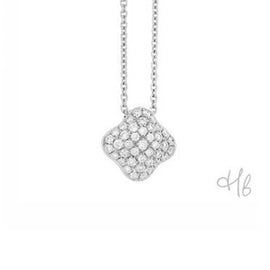 Quadrifoglio 18k White Gold and Diamond Pave Necklace by Hulchi Belluni