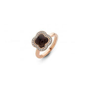 Quadrifoglio Brown Quartz Gemstone with Diamonds set in 18k Rose Gold Ring