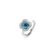Quadrifoglio Ring in 18k White Gold with Topaz and Diamonds