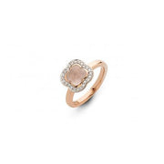 Quadrifoglio Rose Quartz Gemstone with Diamonds set in 18k Rose Gold Ring