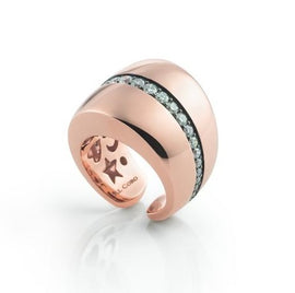 Mezzaluna Ring in 18k Rose Gold with Diamonds