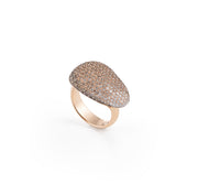 Dolce Vita Ring in 18k Rose Gold with White and Brown Diamonds