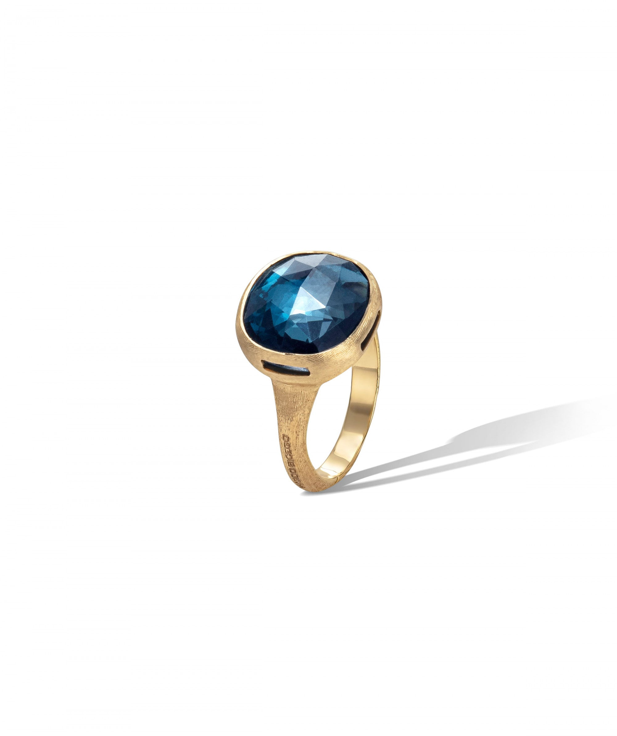 Jaipur Colour Ring in 18k Yellow Gold with London Blue Topaz Large - Orsini Jewellers NZ