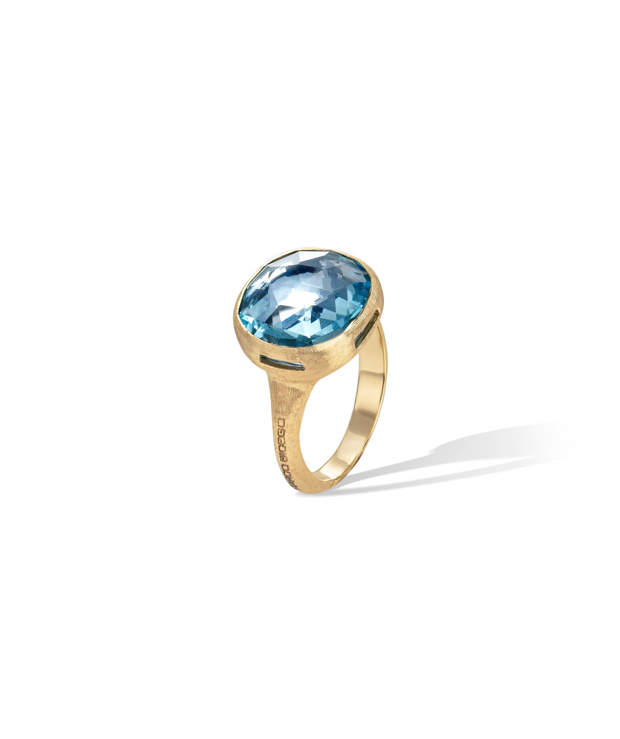 Jaipur Colour Ring in 18k Yellow Gold with Sky Blue Topaz Large - Orsini Jewellers NZ