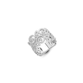 Rose Swirl Double Strand 18k White Gold and Diamond Ring