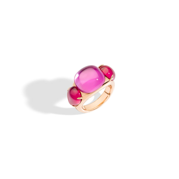 Pomellato Rouge Passion Ring in 9k Rose Gold with Pink Sapphire and Red Rubies