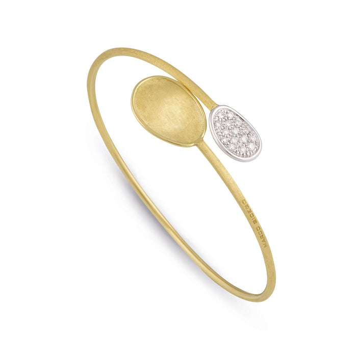 Lunaria Bangle in 18k Yellow Gold with Diamonds Small Leaf