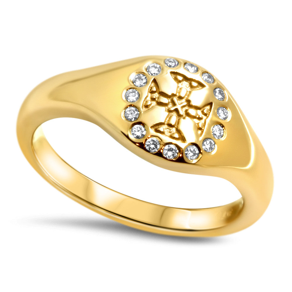 St Cuthbert's 18k Gold Crest Ring with Diamonds