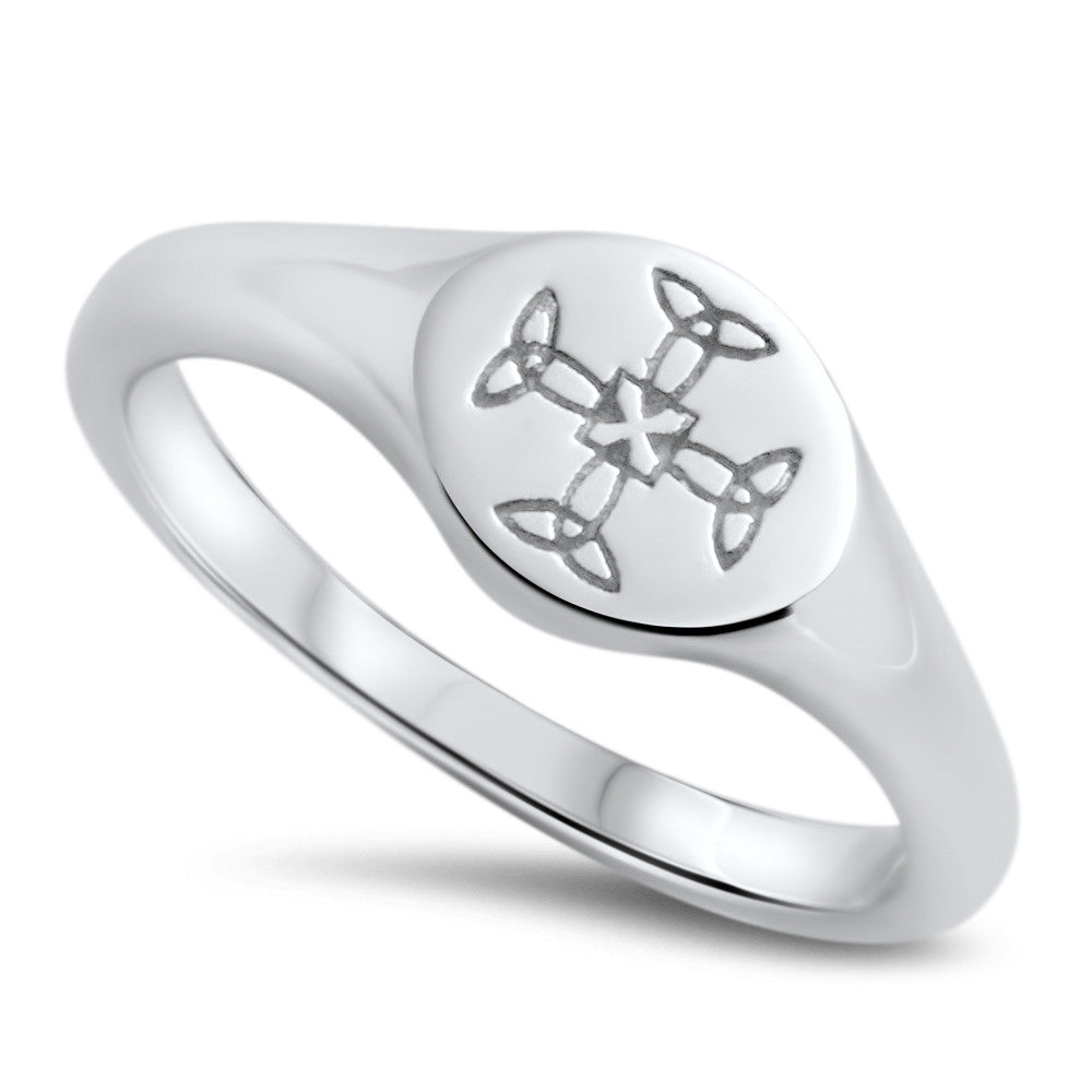 St Cuthbert's Sterling Silver Crest Ring - Orsini Jewellers NZ