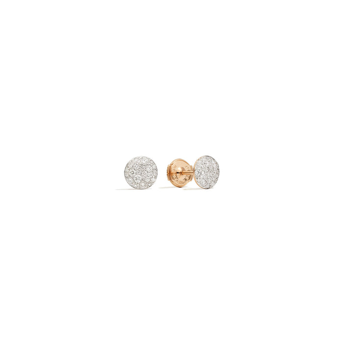 Sabbia Stud Earrings in 18k Rose Gold with Diamonds