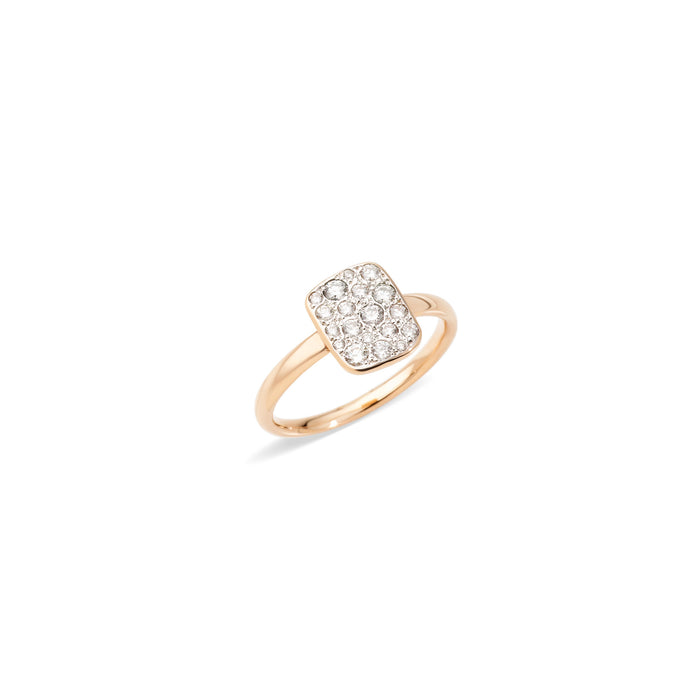 Sabbia Rectangular Ring in 18k Rose Gold with Diamonds