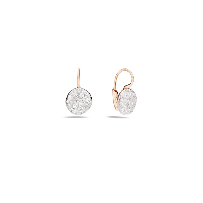 Sabbia Earrings in 18k Rose Gold with Pave Diamonds