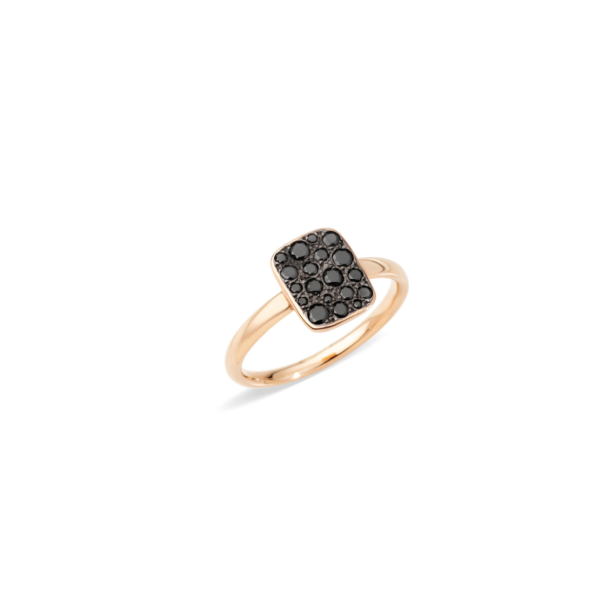 Sabbia Rectangular Ring in 18k Rose Gold with Black Diamonds