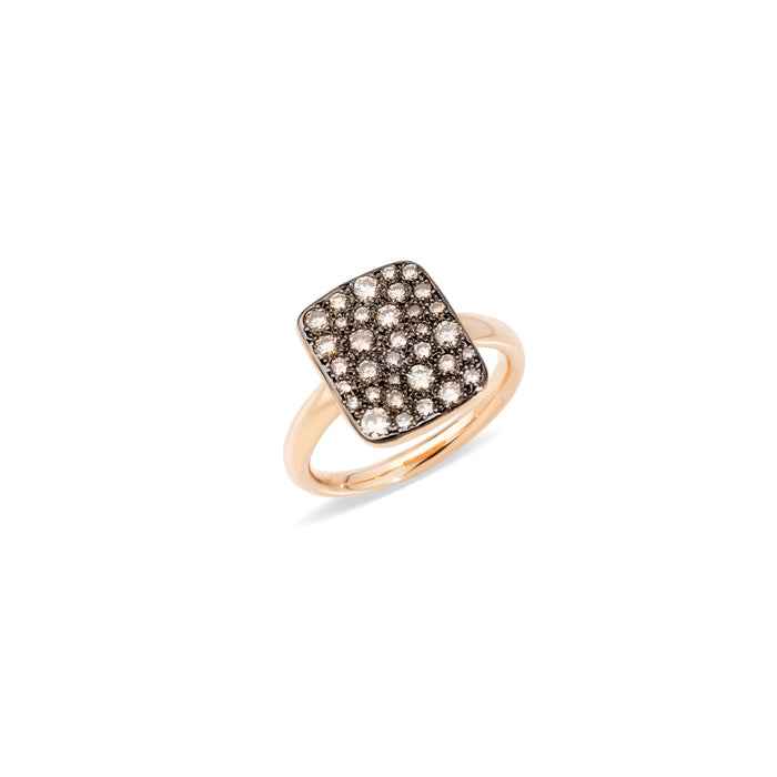 Sabbia Rectangular Ring in 18k Rose Gold with Brown Diamonds - large