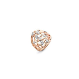 Spring Large 18k Rose Gold and Diamond Ring