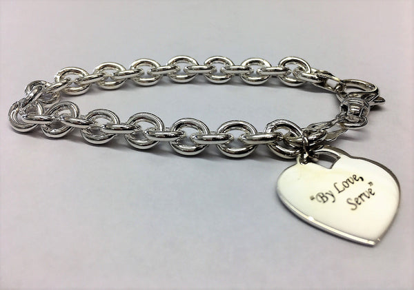 St Cuthbert's Silver Thick Round Cable Chain bracelet with Heart Pendant