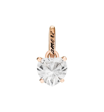 Dodo 100% Amore Charm in 9k Rose Gold with Synthetic White Sapphire