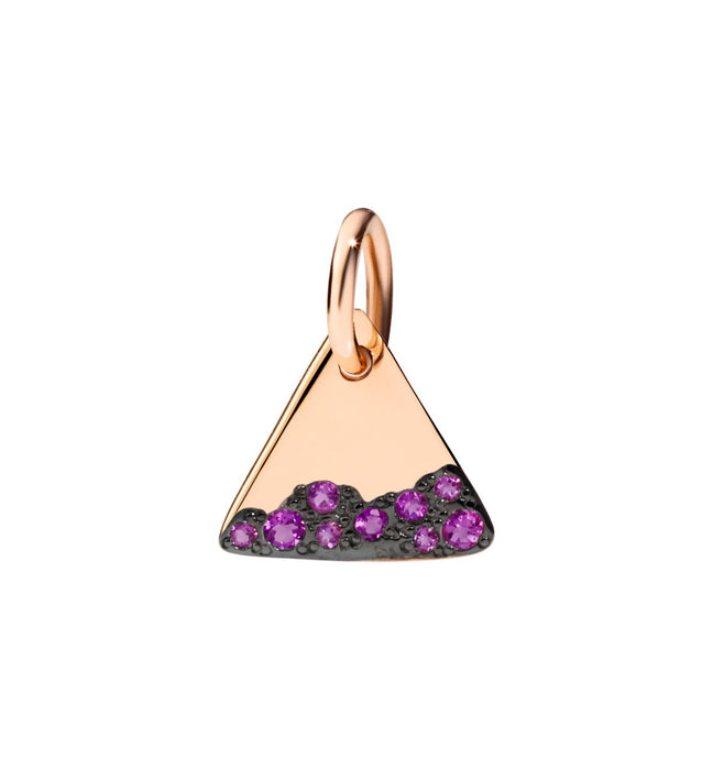Dodo Charm in 9k Rose Gold with Amethysts