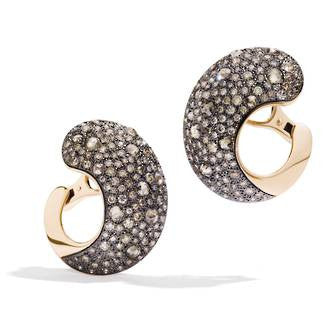 Tango champagne brown diamond link earrings