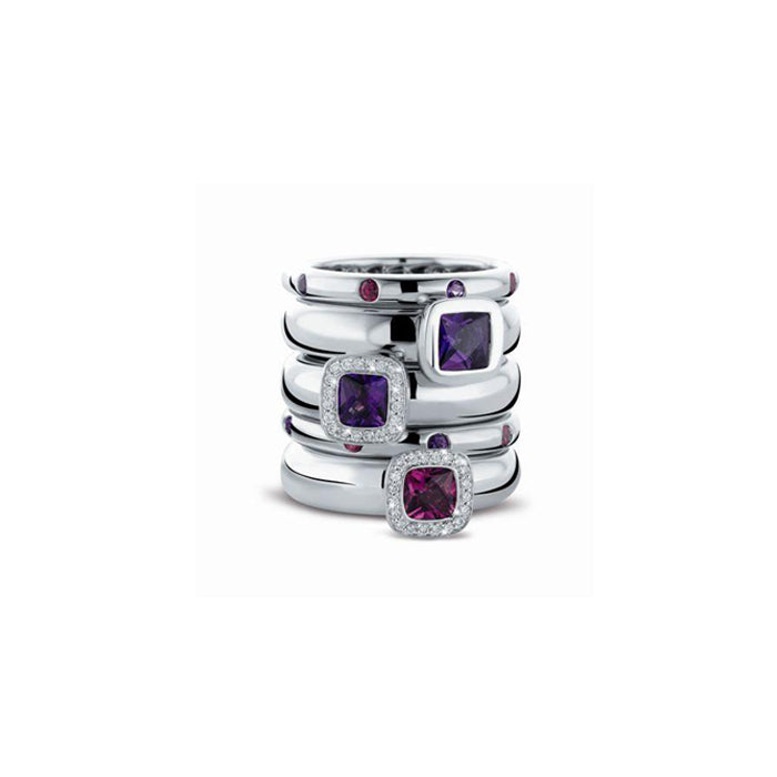 Tirisi White Gold Band Amethysts and Rhodolites
