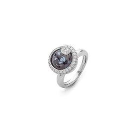 Turban Ametyst & 18k White Gold ring with pave diamond swirl edge