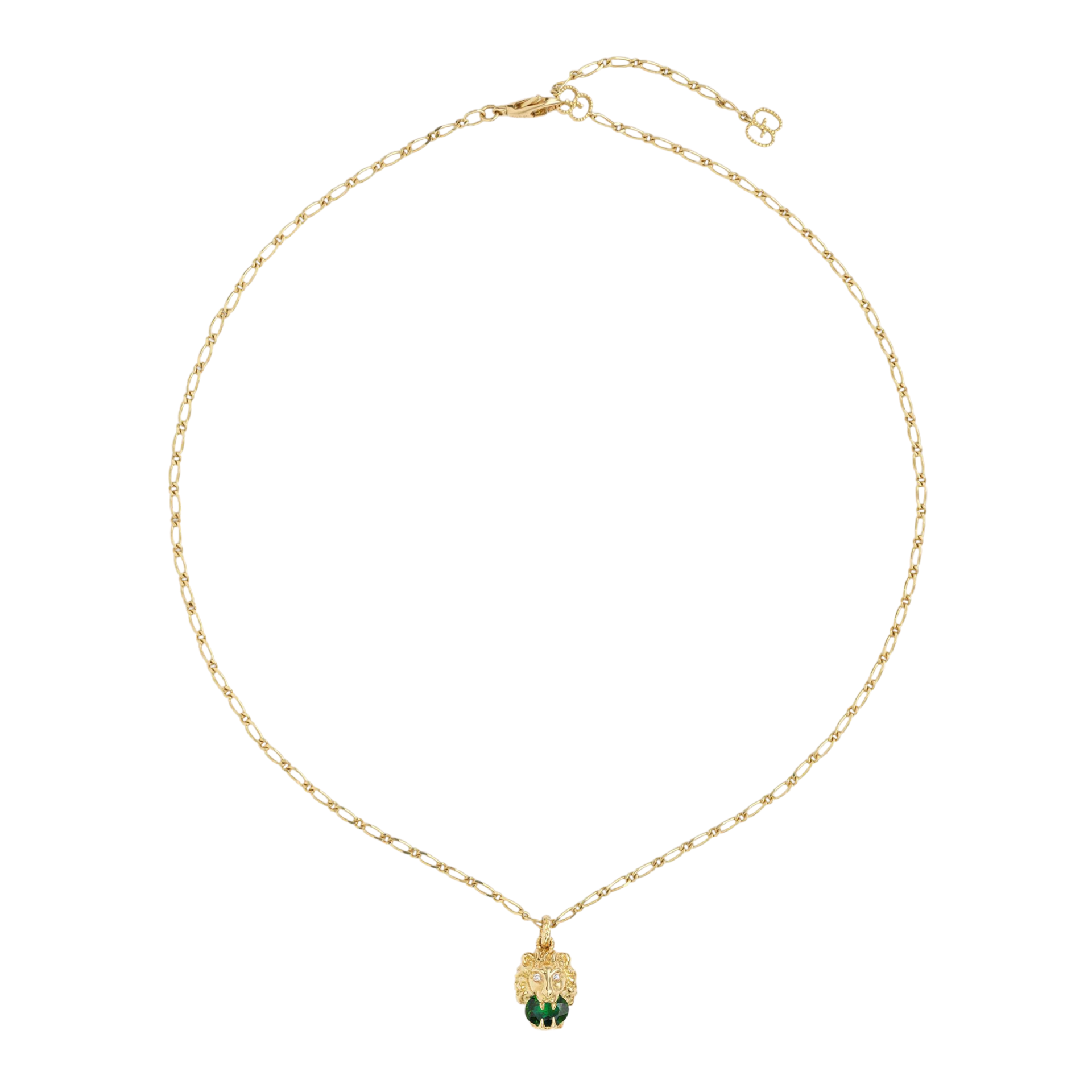 Lionhead Necklace in 18k Yellow Gold with Green Diopside Diamonds - Orsini Jewellers NZ