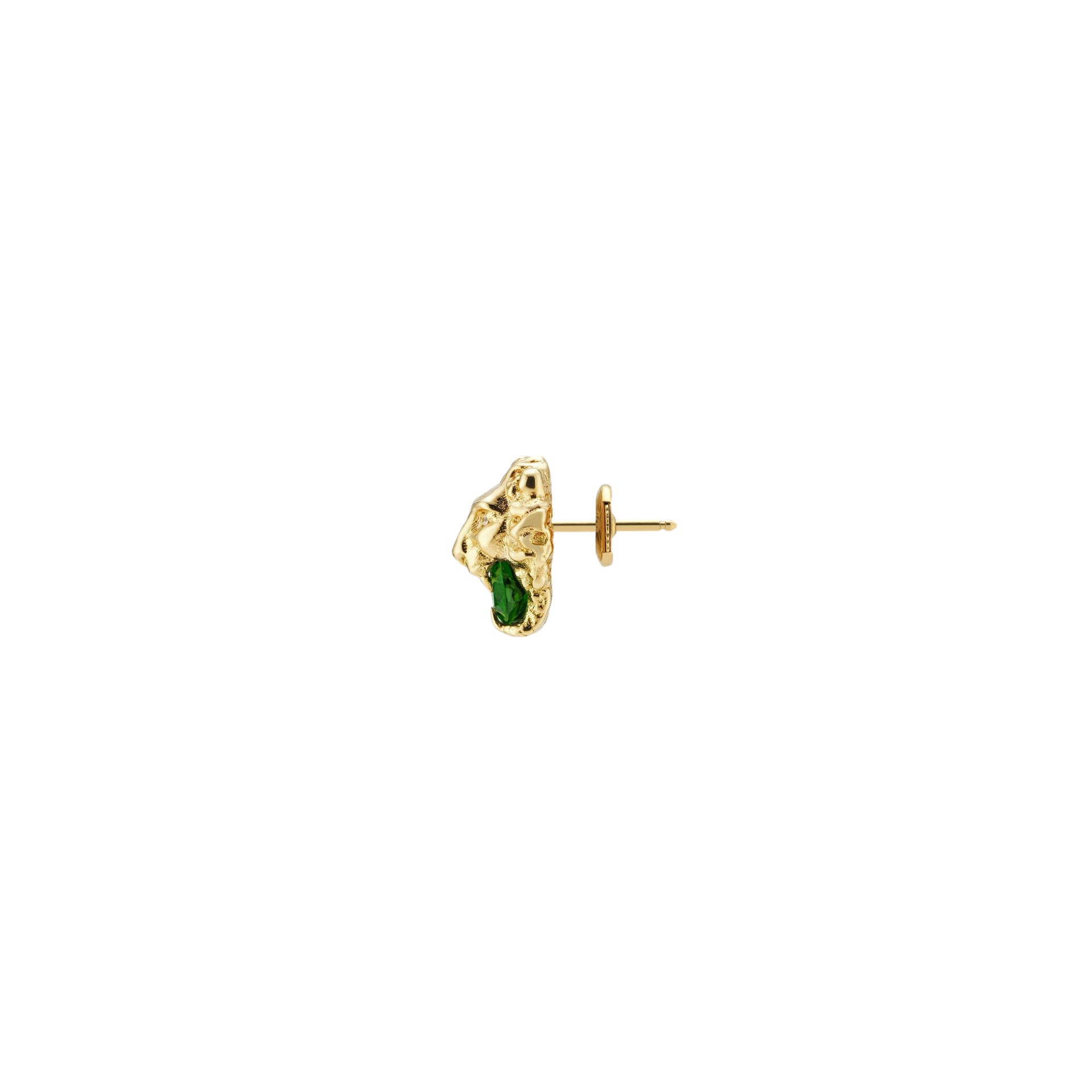 Lionhead Stud Earrings in 18k Yellow Gold with Green Diopside and Diamonds - Orsini Jewellers NZ
