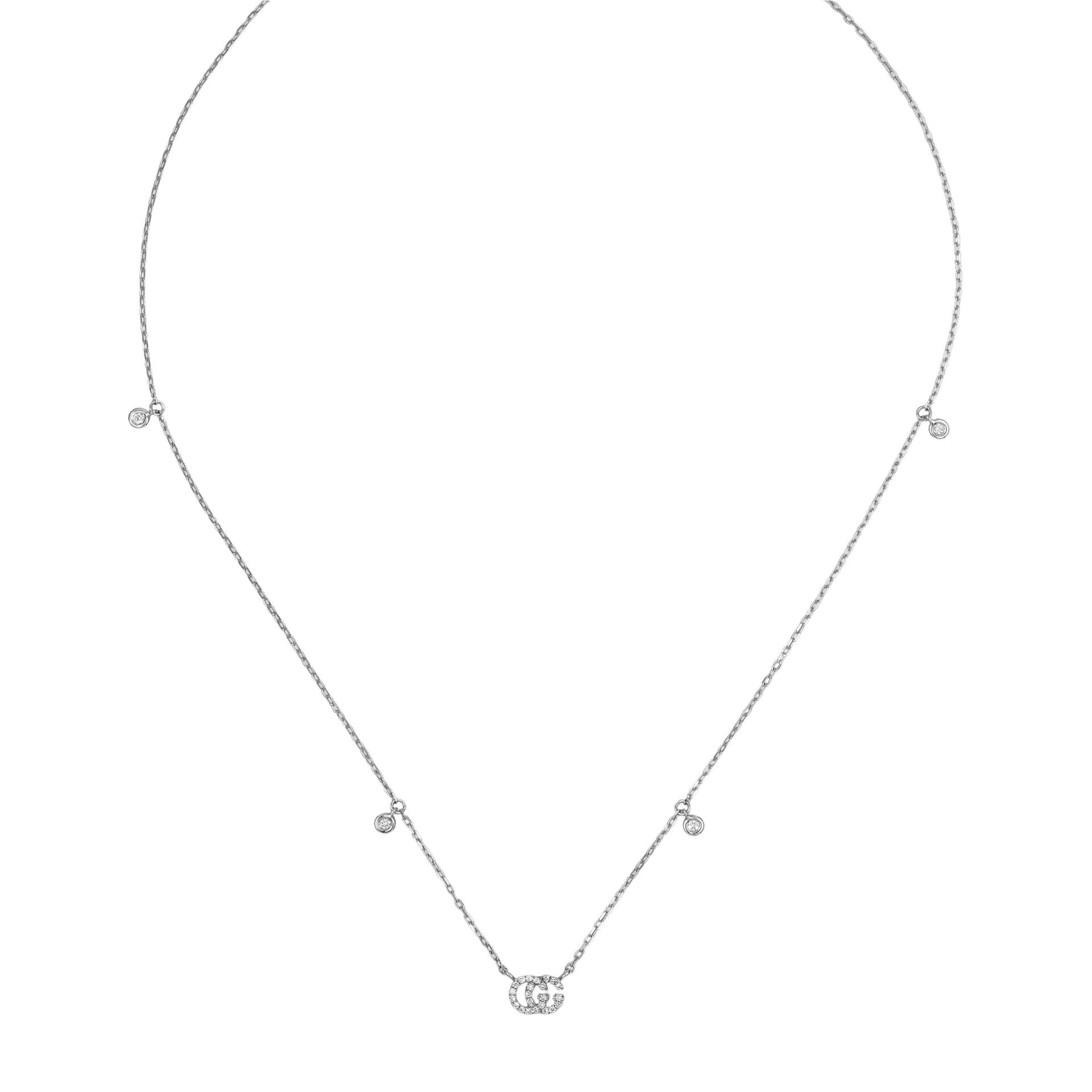 Gucci GG Running Necklace in 18k White Gold with Diamonds - Orsini Jewellers NZ