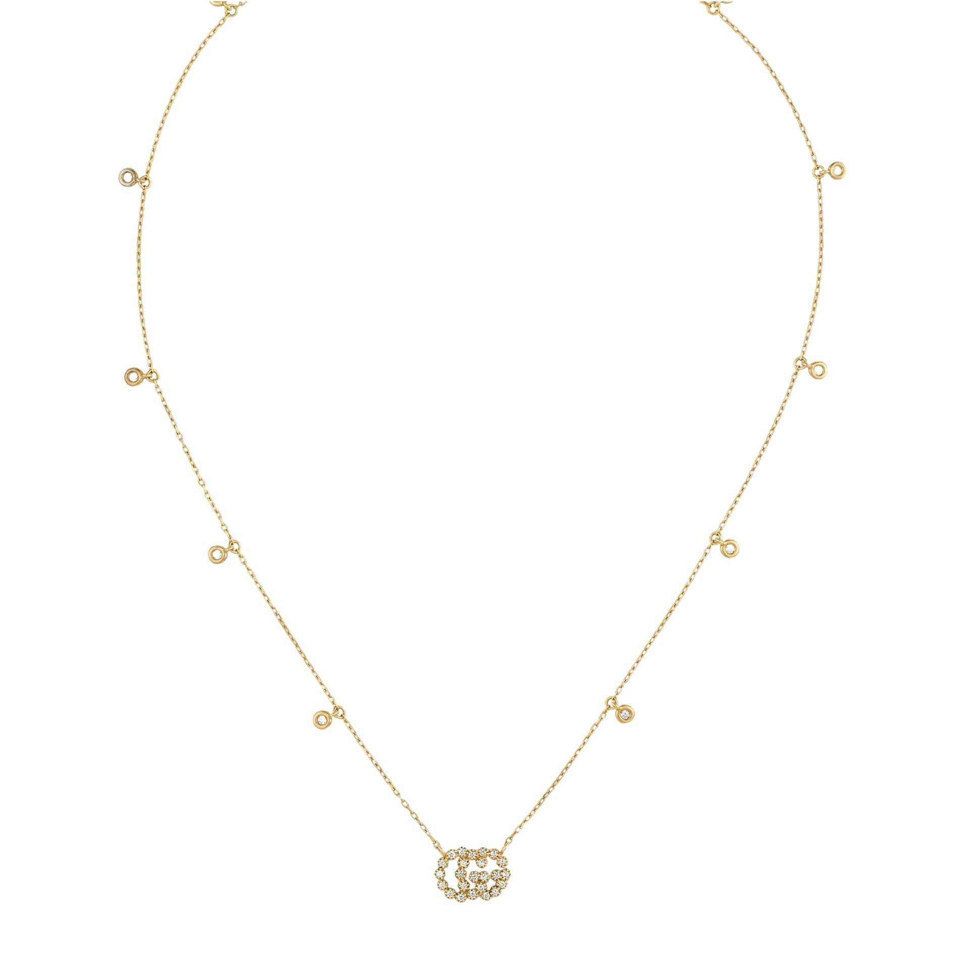 Gucci GG Running Necklace in 18k Yellow Gold with Diamonds - Orsini Jewellers NZ