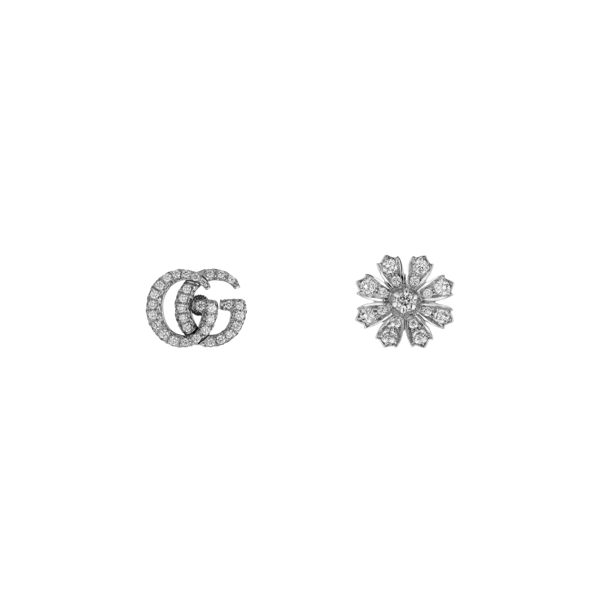 Gucci Flora Stud Earrings in 18k White Gold with Diamonds - Orsini Jewellers NZ