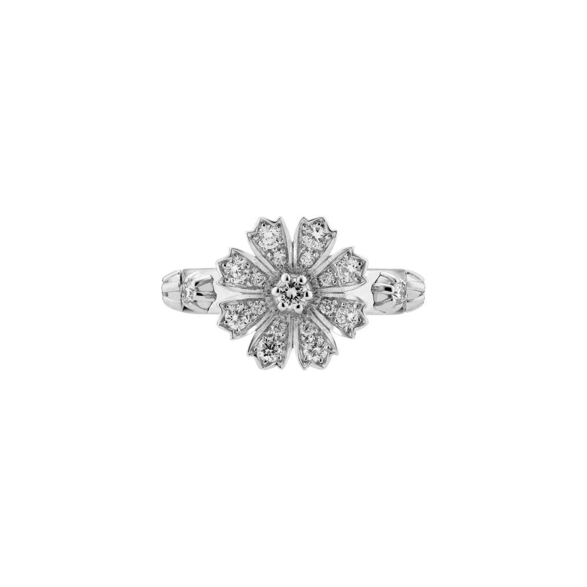 Flora Ring in 18k White Gold with Diamonds