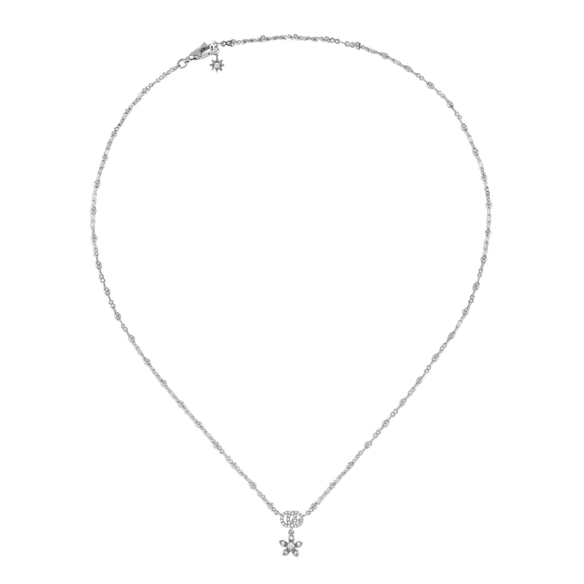 Gucci Flora Necklace in 18k White Gold and Diamonds - Orsini Jewellers NZ