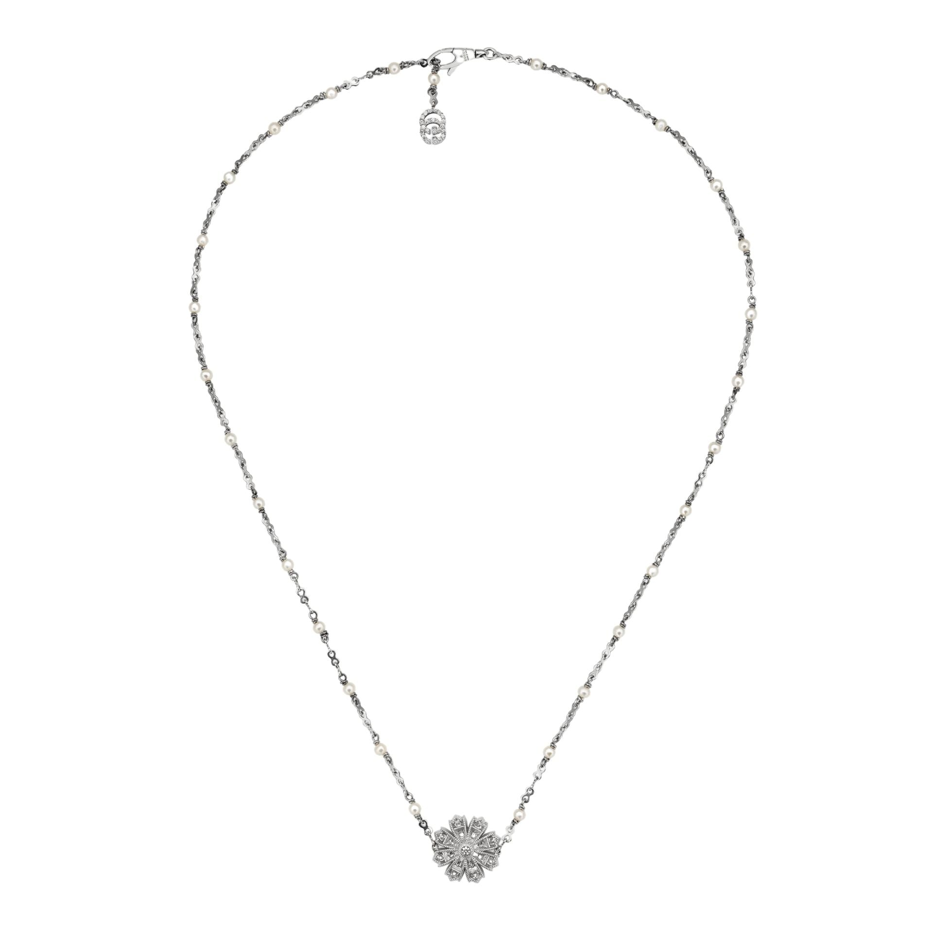 Gucci Flora Necklace in 18k White Gold with Pearls and Diamonds - Orsini Jewellers NZ