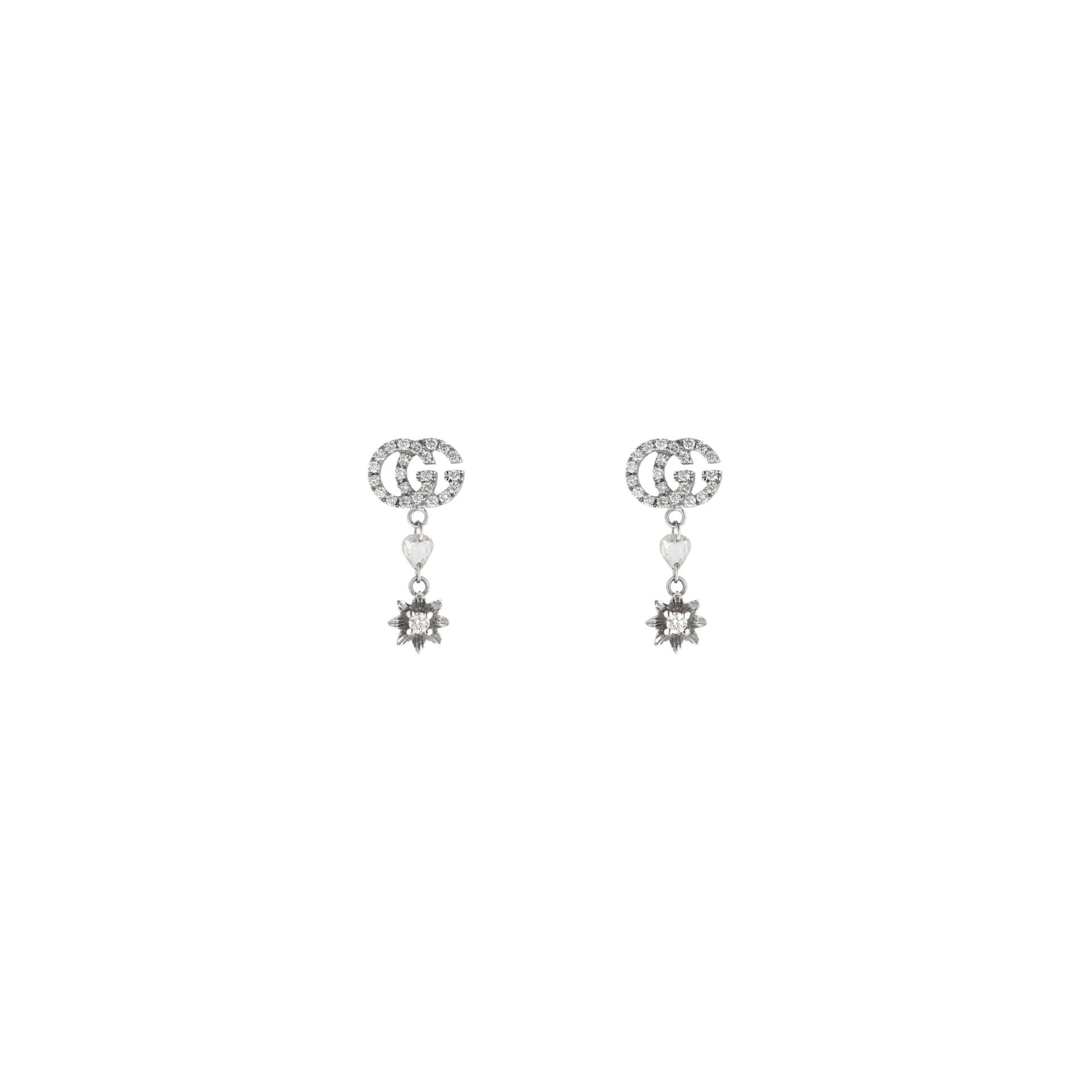 Gucci Flora Earrings in 18k White Gold with Diamonds - Orsini Jewellers NZ