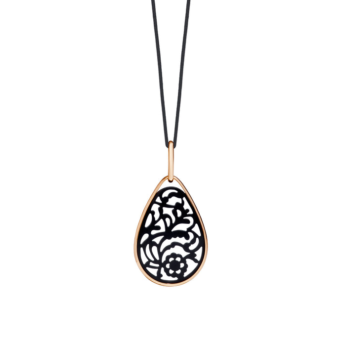 Victoria Pendant in 18k Rose Gold with Siberian Jet