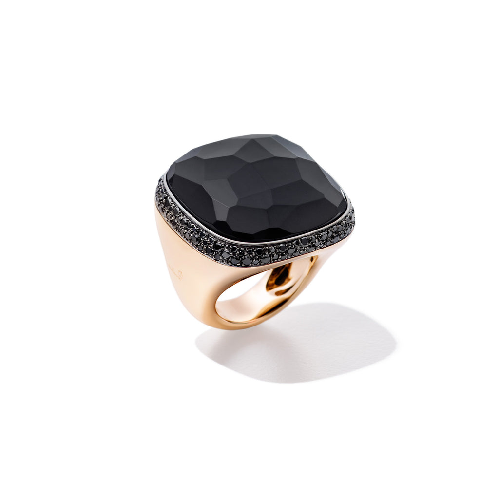 Victoria Black Siberian Jet Gold Ring with Black Diamonds