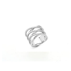 Wave Ring in 18k White Gold with Diamonds