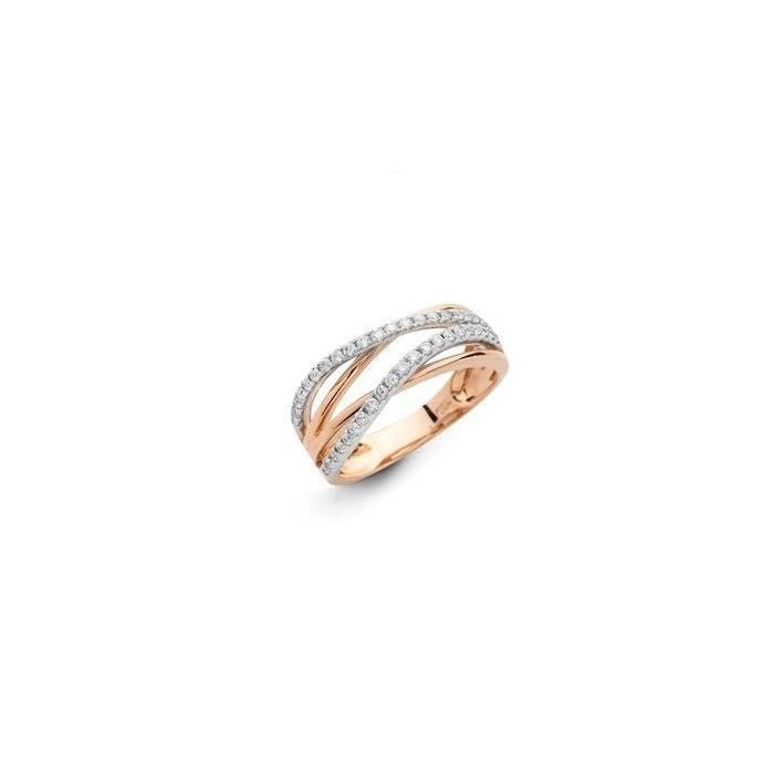 Wave Small 18k Rose Gold and Diamond Ring