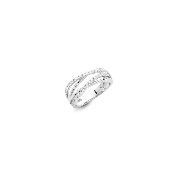 Wave Small 18k White Gold and Diamond Ring