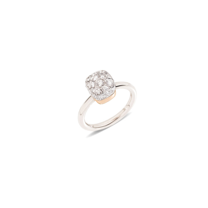 Nudo Petit Ring in 18k White Gold and Rose Gold with Diamonds