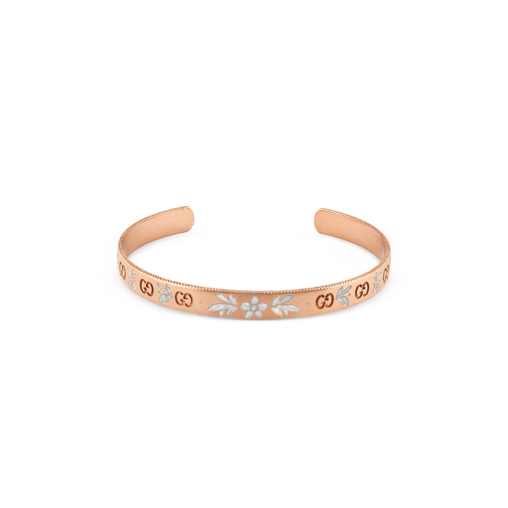 Icon Bloom Bangle in 18kt Pink Gold and White Enamel