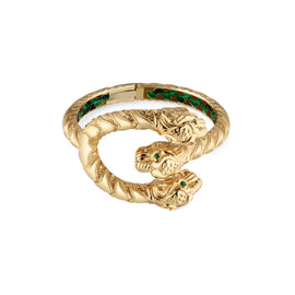 Dionysus Cuff in 18k Yellow Gold with Tsavorite and Green Enamel