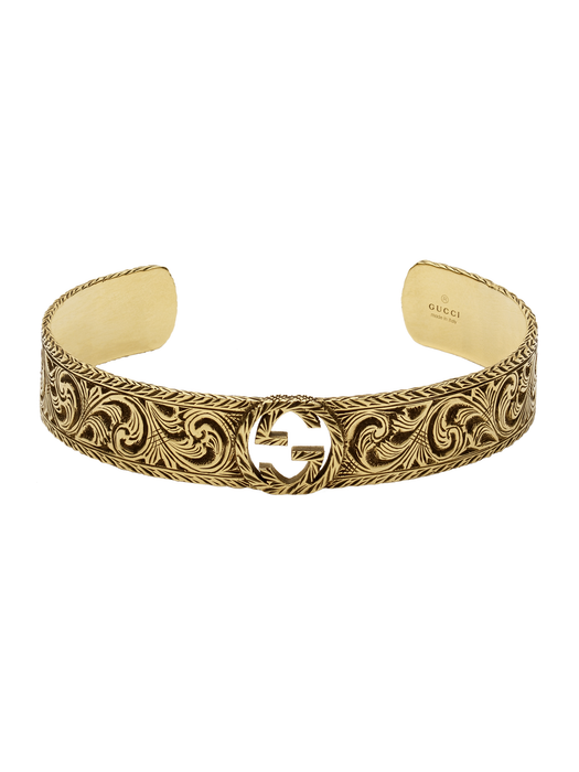 Interlocking G Cuff in Aged 18k Yellow Gold