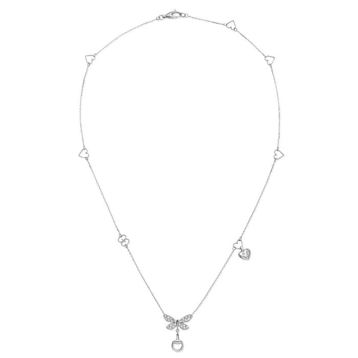 Gucci Flora Necklace in 18kt White Gold with Diamonds