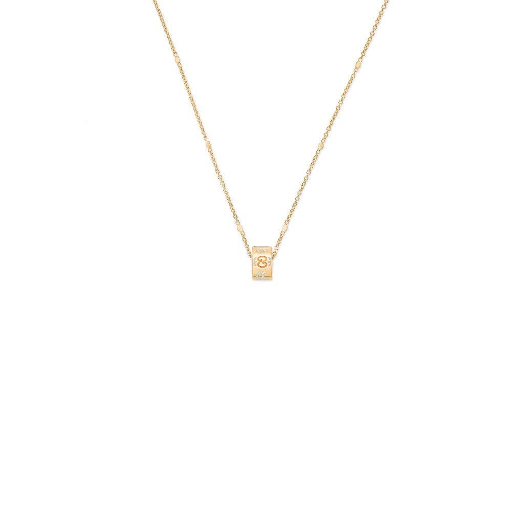Icon Blooms Necklace in 18kt Yellow Gold with White Enamel