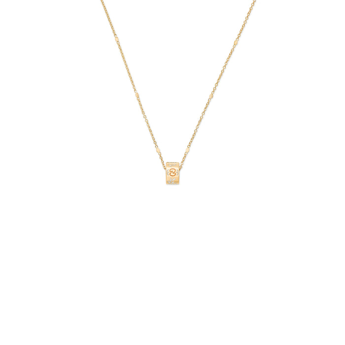 Gucci Icon Blooms Necklace in 18k Yellow Gold with White Enamel